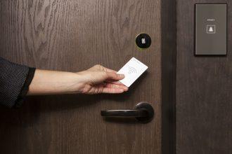 Hotel lock being swiped