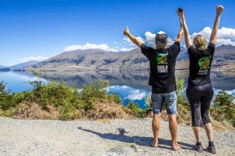 Haka Tourism Group members showing a thumbs up to NZ rivers.