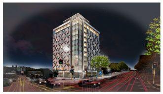 Artist's impression of the Auckland CBD Sudima hotel at night.