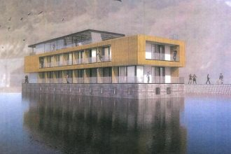 Artist's impression of the Oamaru Floating Hotel