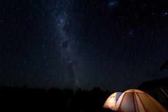 Tent in the Martinborough dark night sky.