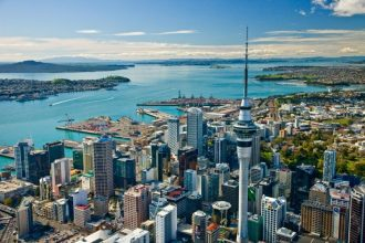 Long shot of the Auckland CBD
