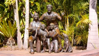 Statue of the Irwin family.