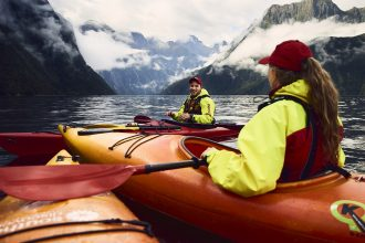Kayakers in the Milford Sound.