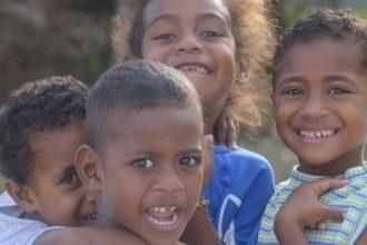 Fijian kids on the beach.