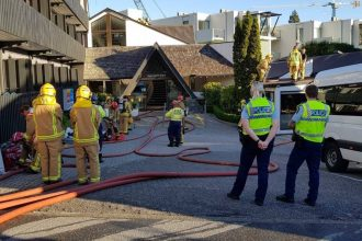 Firefighters at Heartland Hotel.