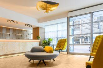 Reception interiors at Adina Apartment Hotel Northbank.