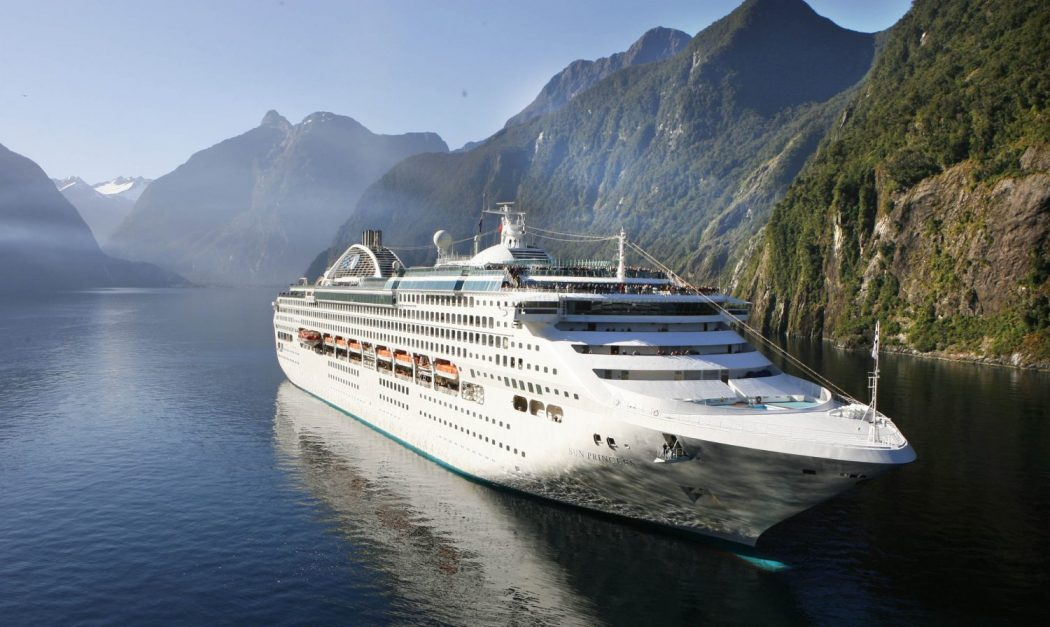 The Sun Princess cruises towards the open sea after a fleeting visit to Milford Sound on Sunday. Fiordland turned on a magnificent day for the liners visit, and the 2800 passengers and crew were treated to Fiordland at it's best.