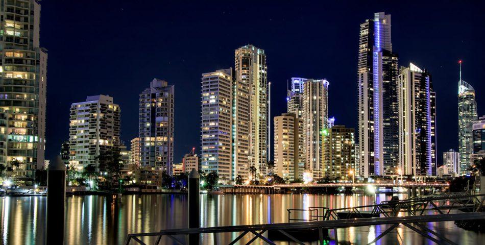 Australian city lights at night.
