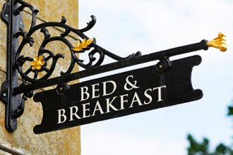 Bed and Breakfast sign.