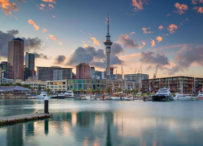 Auckland city waterfront view.
