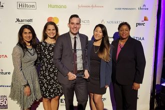 Marriott associates celebrate award.