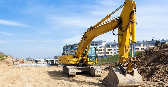 Digger on construction site.