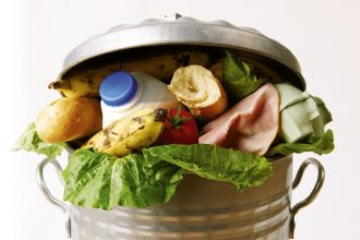 Food waste in a bin.