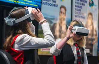 Students testing out the VR experience created by Go with Tourism